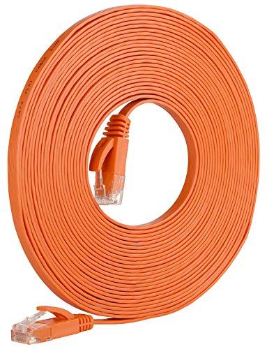Fosmon High Speed Cat5e RJ45 FLAT TANGLE FREE Network Kable - Patch - Ethernet / Modem / Router / LAN / Printer / MAC / Laptop / PS2 & PS3 / XBox & XBox 360 - Fosmon Retail Packaging - Orange (25ft / 7,5m) (360 Modem Xbox)