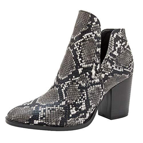 feiXIANG Damen Pointed Toe Schuhe Blockabsatz Pumps Schlangenhaut Drucken Kurze Stiefel Mode Booties (Schwarz,43)