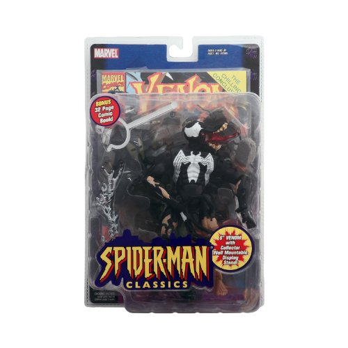 Spiderman Classics: Venom (Eddie Brock) Action Figure - Marvel - Bonus 32pg Comic - Mint in Package - Collectible - (D)