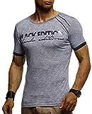 LEIF NELSON Herren T-Shirt Rundkragen   Modernes Kurzarm-Shirt Slim Fit   Männer T-Shirt lang Rundhals Ausschnitt   Fashion Shirt für Herren Kleidung Männer