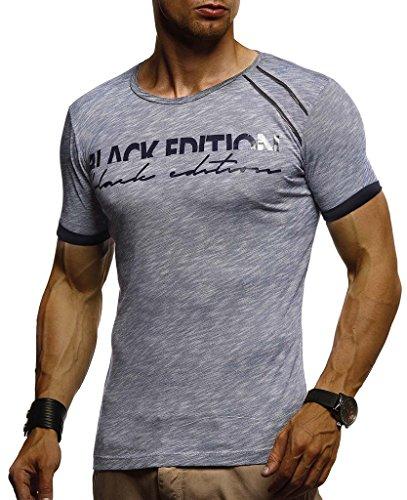 LEIF NELSON Herren T-Shirt Rundhals Ausschnit Sweatshirt Longsleeve Basic Shirt Hoodie Slim Fit; L, Blau