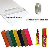 Cricket World Small Effective 4 Item Cricket Bat 5X Toe Guard+Scuff Sheet + 25 M.Fiber Roll + Fevibond Pasting Glue Tube Protection Care Accessories Combo Set Pack