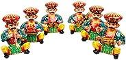 Gomati Ethnic Home Decor Handicrafts Items - Rajasthani 6 Piece Musician Bawla Set In Wood -114