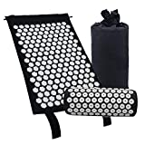 Gaoominy Acupressure Massage Mat with Pillow for Stress/Pain/Tension Relief Body relax(black)