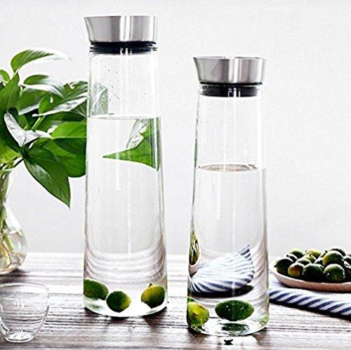 1L / 1.5L vetro Acqua Caraffa brocca di acqua, Pour senza coperchio aperto, vetro borosilicato Tè freddo succo d'arancia limonata brocca con coperchio in acciaio inossidabile, calda o fredda Caraffa (1.5L) (1L)