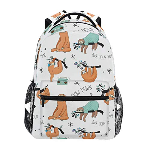 MAHU Rucksack Faultier Musik Muster Erwachsene Schultasche Casual College Bag Reisetasche Reisetasche Büchertasche Wandern Schulter Daypack für Damen Herren (Musikalische Elektronik)