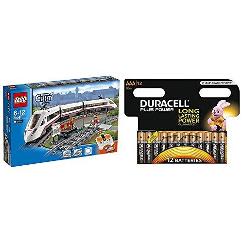LEGO City - Tren de pasajeros de alta velocidad (60051) + Duracell Plus Power Pilas Alcalinas AAA, paquete de 12