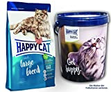 Happy Cat Adult Large Breed 2 x 10 kg = 20 kg + 1 x Futtertonne Happy Cat 20 Liter