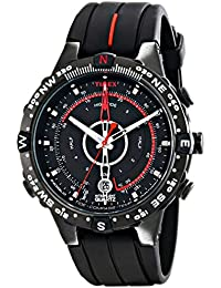 timex watches shop amazon uk timex men s t2n720 quartz tide temp compass watch black dial analogue display and black silicone strap