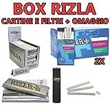 KIT Rizla corta silver 5000 cartine + rizla 4800 filtri ultra slim 5,7 mm + IN OMAGGIO 1 CLIPPER NERO