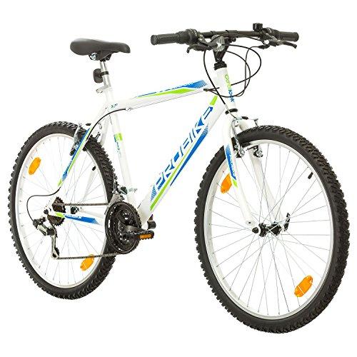 Multibrand PROBIKE 26 Zoll Mountainbike Shimano 18 Gang, Herren-Fahrrad & Jungen-Fahrrad, geeignet ab 165-183 cm (Weiß)