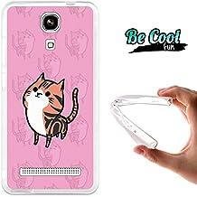 Becool® Fun- Funda Gel Flexible para Zopo Color E ZP350, Carcasa TPU fabricada con la mejor Silicona, protege y se adapta a la perfección a tu Smartphone y con nuestro exclusivo diseño. Gato naranja y rosa