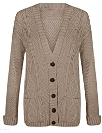 62661d37d6 RIDDLED WITH STYLE Women s Ladies Long Sleeve Button Top Chunky Aran Cable  Knitted Grandad Cardigan