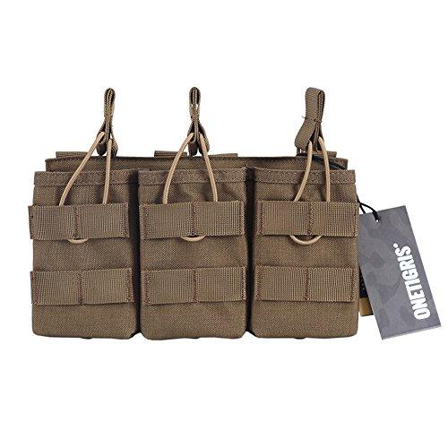 OneTigris Porte Chargeur Triple M4/M16/AK/AR/FAMAS La Pochette des Magasins Tactiques avec Molle pour Airsoft (Coyote - Version Améliorée)