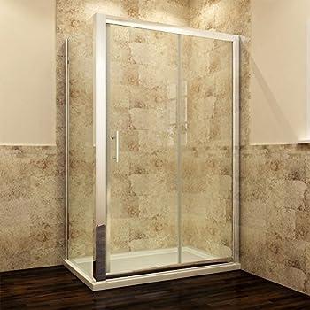 Duschkabine 120x90cm Glas Mit Schiebetür Duschabtrennung Mit Seitenwand  Echtglas Links/rechts