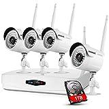 ANNKE 8CH 1080P NVR Système de vidéosurveillance sans Fil avec HDD 1TB,Compression vidéo H.264+,4 Caméras IP Bullet 1080P,Accès à Distance et Sortie HDMI,Disque Dur de 1TB