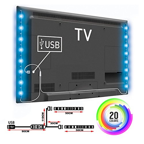 USB LED TV Strip Light Colour Changing 5V RGB 5050 Decorative Lighting PC Back Mood Lights Livingroom Bedroom 2X50CM