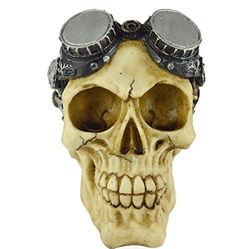 Schädel mit Schutzbrillen, Schädel Kopf Modell Deko, Totenkopf Halloween/Room Escape Requisiten/Spukhaus Dekoration, Circa 15 x 12 cm (Mechanische Halloween Requisiten)