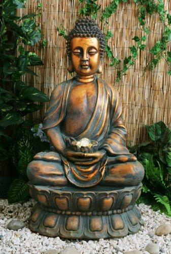 Fuente de Agua Buda Dorado Meditando. Con Luces LED y Esfera 3