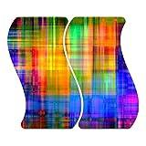 DekoGlas Herdabdeckplatten Regenbogen aus Glas m. Noppen, Zweiteilig Welle, Herdabdeckung, Schneidebrett, Spritzschutz, Servierplatten, Küchenrückwand