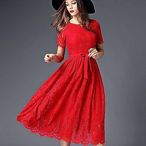 MYM Abiti primavera gamba europea è stata vita sottile vestito a maniche corte collo alto rotondo in abito femminile , red , m
