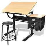 vidaXL Schreibtisch Architektentisch Zeichentisch Bürotisch Tisch Arbeitstisch + Hocker