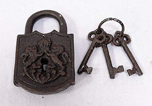 Hierro fundido Candado con 3 llaves, Decoración Castillo, hierro oxid