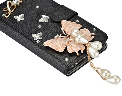 Housse iPhone X / iPhone 10 Perle coque 2 en 1 Case PU Cuir Coque, Vandot Bling Diamant Design 3D Pearl Couverture Élégant Pochette Case Cover de Protection Shock Absorption Bumper avec Support et Por Diamant 31