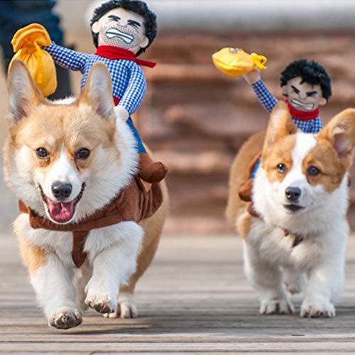 DOGCATMM Lustige Hund Kleidung Reiten Pferd Haustier Kleidung Für Hunde Kostüm Halloween Cowboy Hund Kleidung Kreative Pet Kleidung Haustiere Produkte