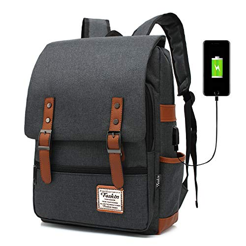 0d2d78e07e19 Professional Laptop Backpack with USB Charging Port, FEWOFJ Fashion Travel  Bag Vintage Business Work Computer Rucksack College School Casual Daypack  ...