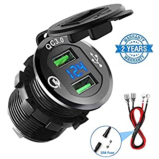 Quick Charge 3.0 Car Charger, CHGeek 12V/24V 36W Waterproof Dual QC3.0 USB Fast Charger Socket Power Outlet with LED Digital Voltmeter for Marine, Boat, Motorcycle, Truck, Golf Cart and More (Black)
