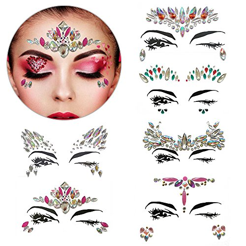 (6 Sets Rhinestone Face Stickers Bindi Crystals Festival Face Jewels Face Gems Glitter Temporary Tattoos for Eyes Face Body Stickers,Party Make-Up Rhinestone Rave)