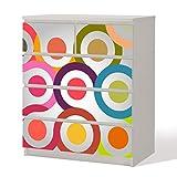 Möbelfolie -- Retro Circle 70er -- Dekorfolie für Schränke & Tische -- Klebefolie Möbel Aufkleber Tattoo