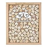 Monsety Elfenbeinfarben Love Birds Gästebuch Hochzeit Drop Top Holzrahmen Alternative Hochzeit Gästebuch Namen Personalisierte Gästebuch Schild 40x 50cm mit 150Herzen, Holz, Color 9, 30 x 35cm