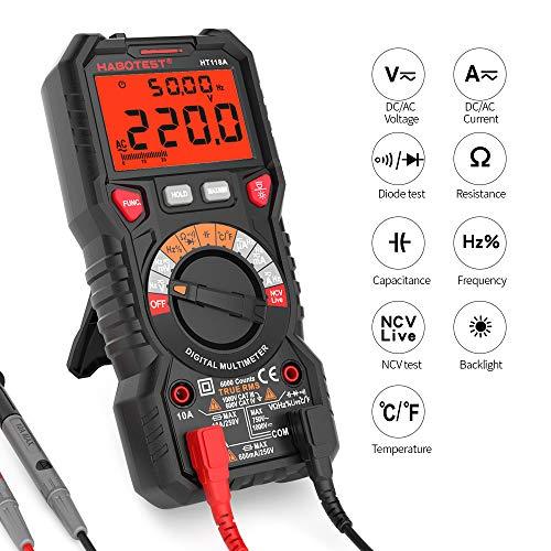 GMtes HT118A Digital Multimeter Auto Range Multi-Meter 6000 zählt True RMS, AC/DC Spannungsstromwiderstand Kapazität Frequenz Temperatur NCV Diode - Breite Zähler Einheit