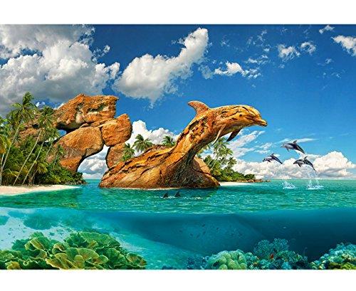 Puzzle 1000 Teile - ' Delfin - Paradies / Ozean ' - Zeichnung - Gemälde / Unterwasser Fische - Tropen / Südsee - Traumstrand - Delfine - Meerestiere - Meer / Küste - gemalt - Tiere / Aquarium - Paradies...