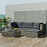 Festnight Set de sofá de Ratán 14 piezas Muebles Completo Gris