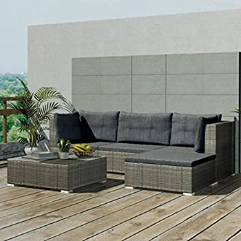 GOA Salon de jardin en résine tressée gris: Amazon.fr ...