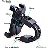 Amsik® 360 Degree Rotation Universal Motor Bike Holder ,Anti Shake Fall Prevention Bicycle Handlebar Mount For 3.7 To 6.5 Inch IPhone Android Smartphones GPS Other Devices , Universal/Black For TVS Scooty Zest