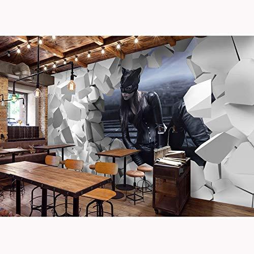 Fototapete 3d effekt Cartoon Brick Wall Paper Murals Catwoman Fototapete Kinderzimmer Tapete 3D selbstklebende Vinyl/Seide Tapeten-450X300CM (Catwoman Ist Groß Wie)
