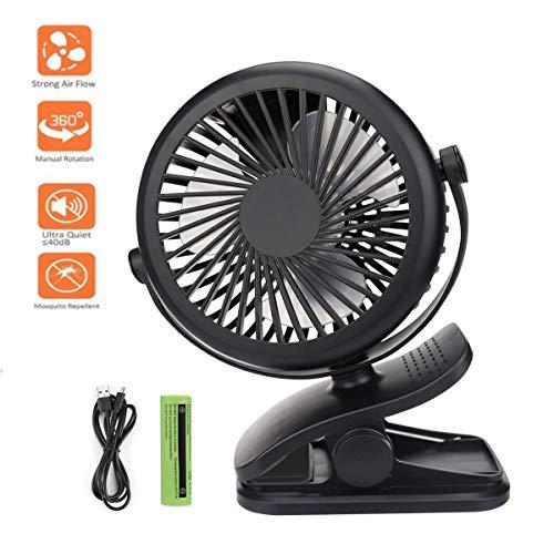 Lomire Mini USB Ventilator | Tischventilator mit Tisch-Klemme | Schreibtischventilator mit Clip | um 360Grad drehbar | klein und leise | energiesparend