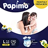 Papimo Diapers Pants with Aloe Vera Monthly Box Pack, Large (128 Count)