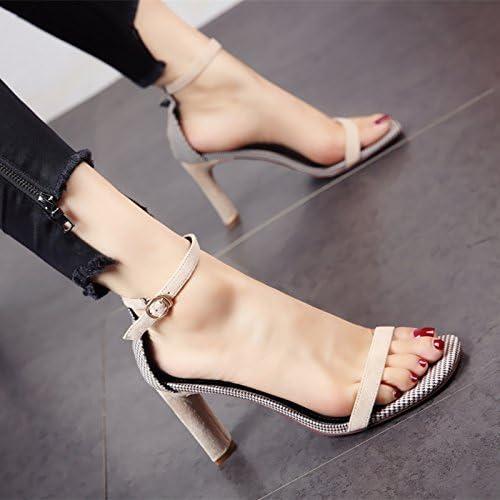 YMFIE Moda casual gamuza y áspera toe sandalias verano parte de personalidad sexy zapatos de tacón alto.36 UE,c