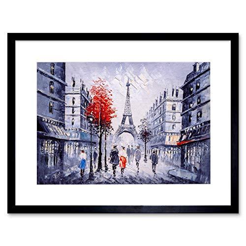 Eiffel Tower In Paris Red Tree Art Print Framed Poster Wall Decor 9x7 inch Eiffelturm Baum Wand Deko