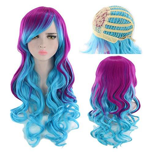 Eachann-Hsi Frauen Lange große gewellte Haare Perücke Kopfbedeckung, Multi Color Hitzebeständige Perücke für Cosplay/Halloween Party Kostüm 65-70cm