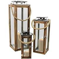 Multistore 2002 3tlg. Laternen-Set H34/50/70cm mit Seil Henkel Natur/Silber Laterne Gartenlaterne Kerzenhalter Gartenbeleuchtung Windlicht