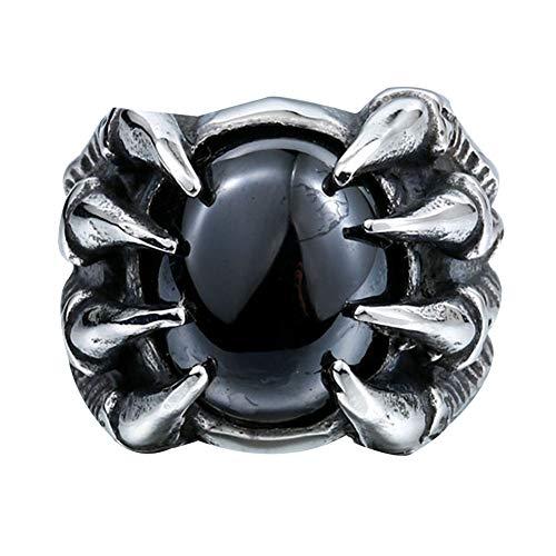 WLXW 316 Edelstahl Eingelegten Zirkon Ring, Drachen Klaue Talon Edelstein Ring, Männer und Frauen Im Gotischen Stil Modeschmuck Geschenk,Blackgem,10