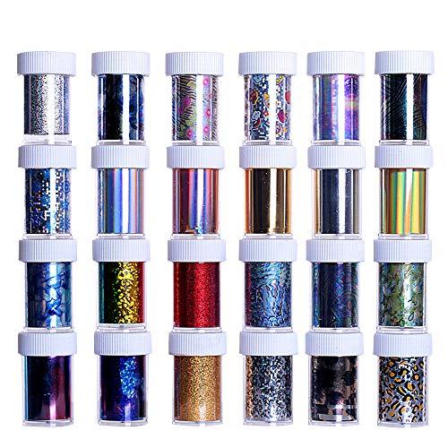 SENDILI Decorazioni Stickers Per Unghie - Nail Art Foil Stickers Tips Wraps Foil Transfer Decals Acrylic DIY Manicure Decorations Flower 25 Bottiglie/100CM*4CM
