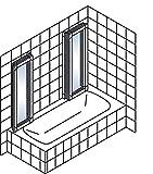 Schulte Duschabtrennung München, 140 cm hoch, 2x3-teilig faltbar, Kunstglas Tropfen-Dekor, alpin-weiß, geschlossene Duschkabine für Badewanne Vergleich