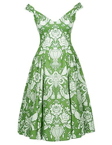 Blooming Jelly Donna Vestito Abiti Vintage Swing Scollo V Floreale Cocktail Verde Vestito verde #1